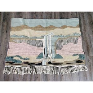 Vintage MCM Waterfall Large Scale Wall Tapestry